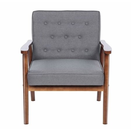 - Mid-Century Retro Modern Accent Chair Wooden Arm Upholstered Tufted Back Lounge Chairs Seat Size 29.5