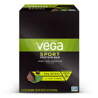 Vega Sport Plant Protein Bar, Chocolate Mint, 15g Protein, 12 Ct