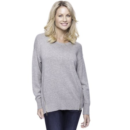 Tocco Reale Women's Cashmere Blend Crew Neck Sweater with Side