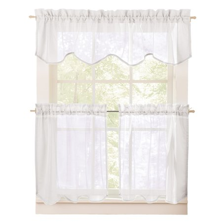 collections etc sheer curtain valance and tier set. Black Bedroom Furniture Sets. Home Design Ideas