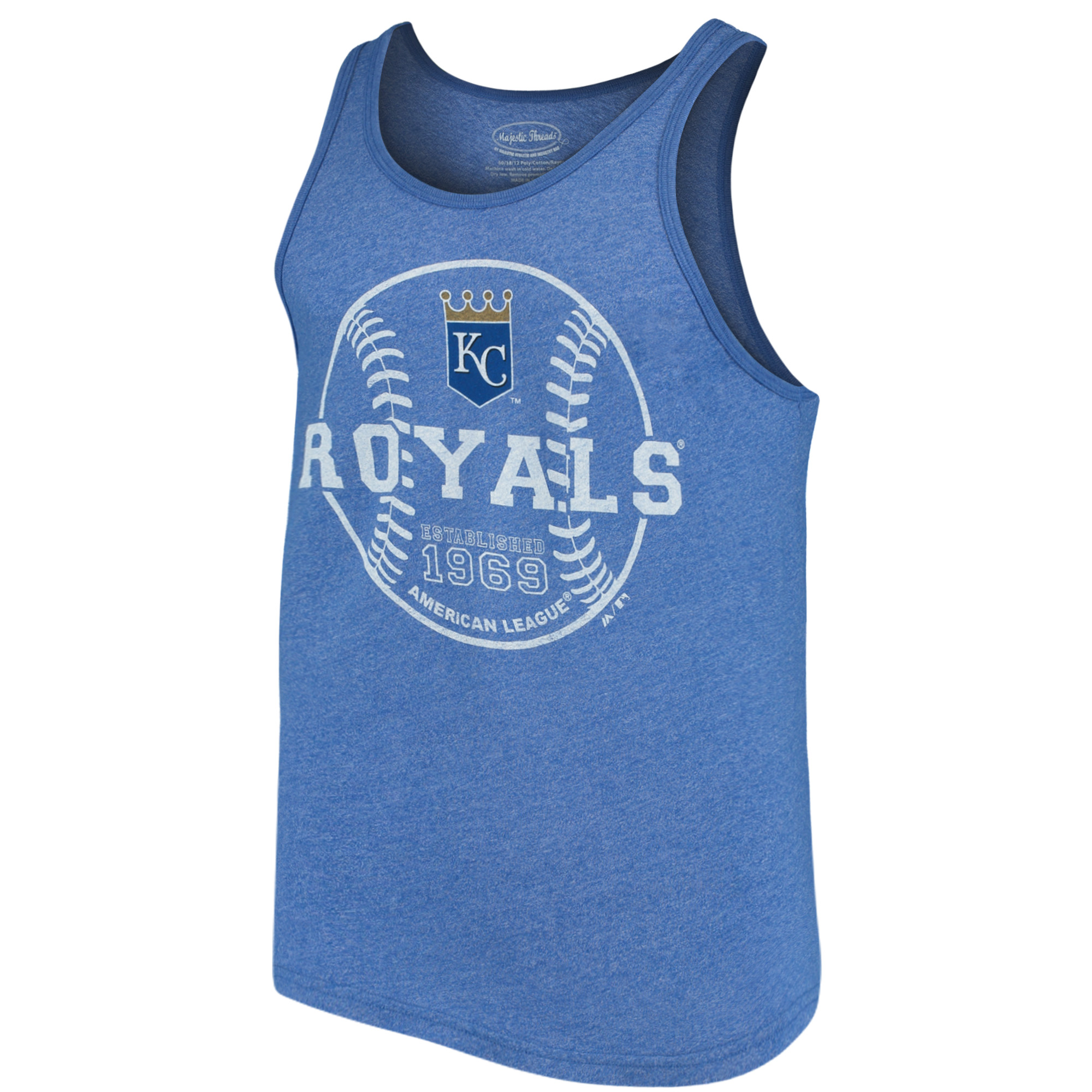 Kansas City Royals Majestic Threads The Stretch Contrast Tri-Blend Tank Top - Heathered Royal