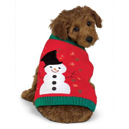 Cute Snowman and Embroidered Snowflake Dog Sweater with Ribbed Trim - Dog Snowman Costume