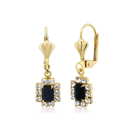 Regal Dark Blue Baguette Cubic Zirconia Gold Plated Brass Earrings With White