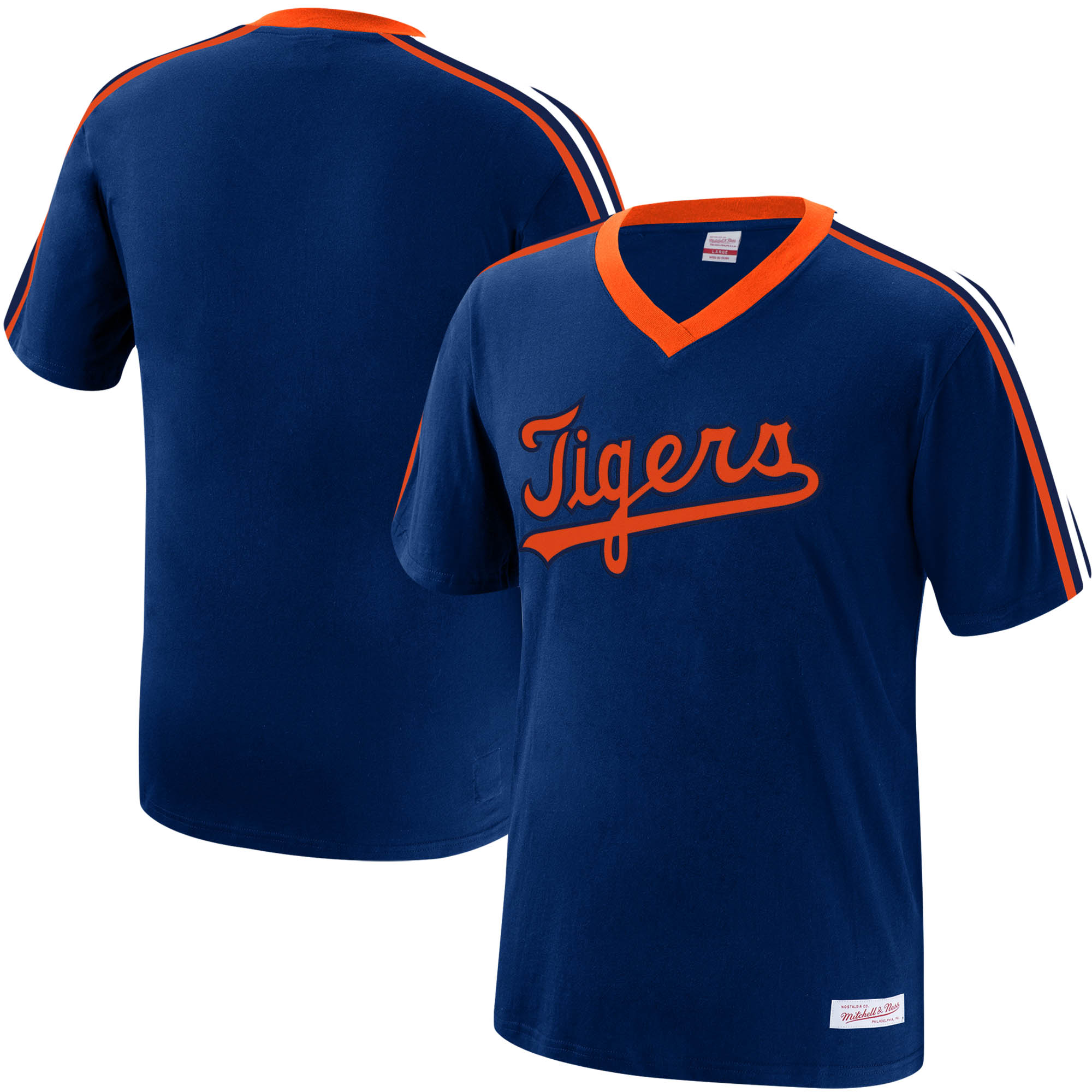 Detroit Tigers Mitchell & Ness Overtime Win V-Neck T-Shirt - Navy