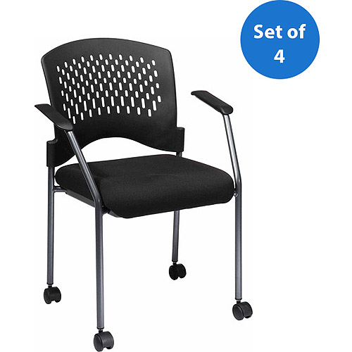 Office Star Visitor Chair with Arms and Wheels, Titanium, Set of 4