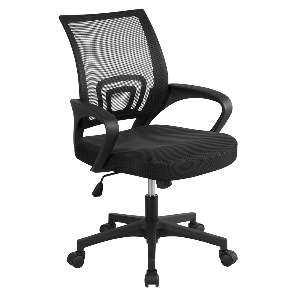 Adjustable Office Chair Swivel Computer Mesh Desk Chair Seat Fabric Back Black