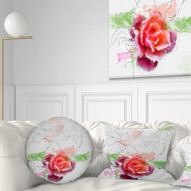 Design Art Designart Beautiful Rose With Rose Sketches Floral Throw Pillow Walmart Com Walmart Com