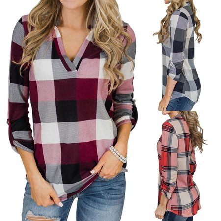 Plate Printed - Womens Fashion V-Neck Blouses Long Sleeve Striped Plaid Print Casual Loose T-shirt Tops