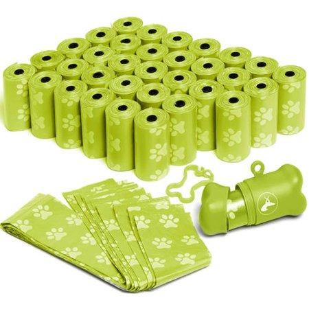OxGord 1,000 Pet Dog Waste Bags for Poop Removal Disposal with Bone Dispenser and Leash Clip Green