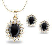18K Yellow Gold Created Black Sapphire Round 3 Carat Oval Necklace Plated 18 inch