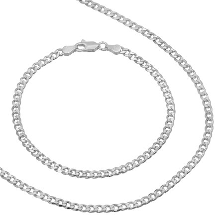 3.5mm Real 925 Silver Italian Crafted Cuban Curb Link Chain & Bracelet Set + Bonus Polishing Cloth