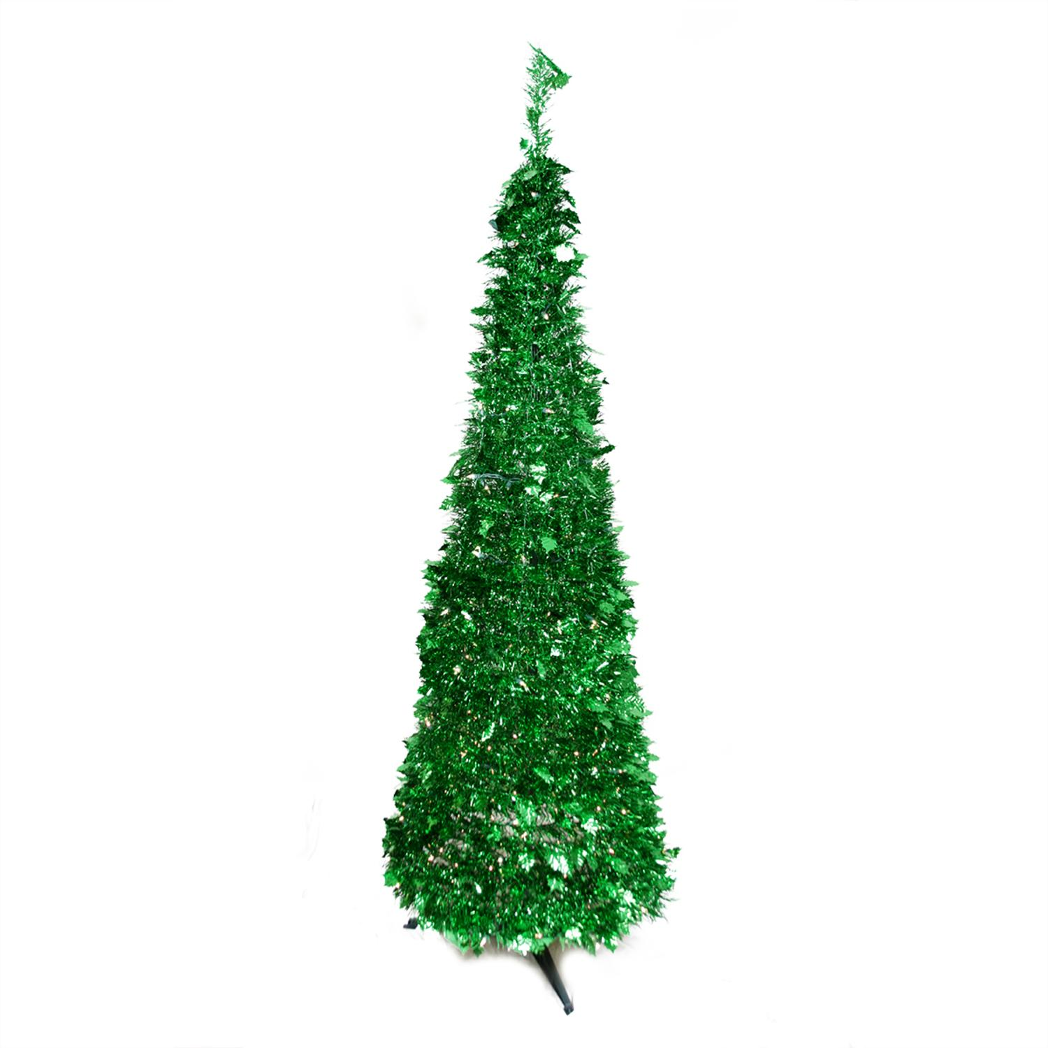 6 pre lit pop up bright green tinsel artificial christmas tree clear lights