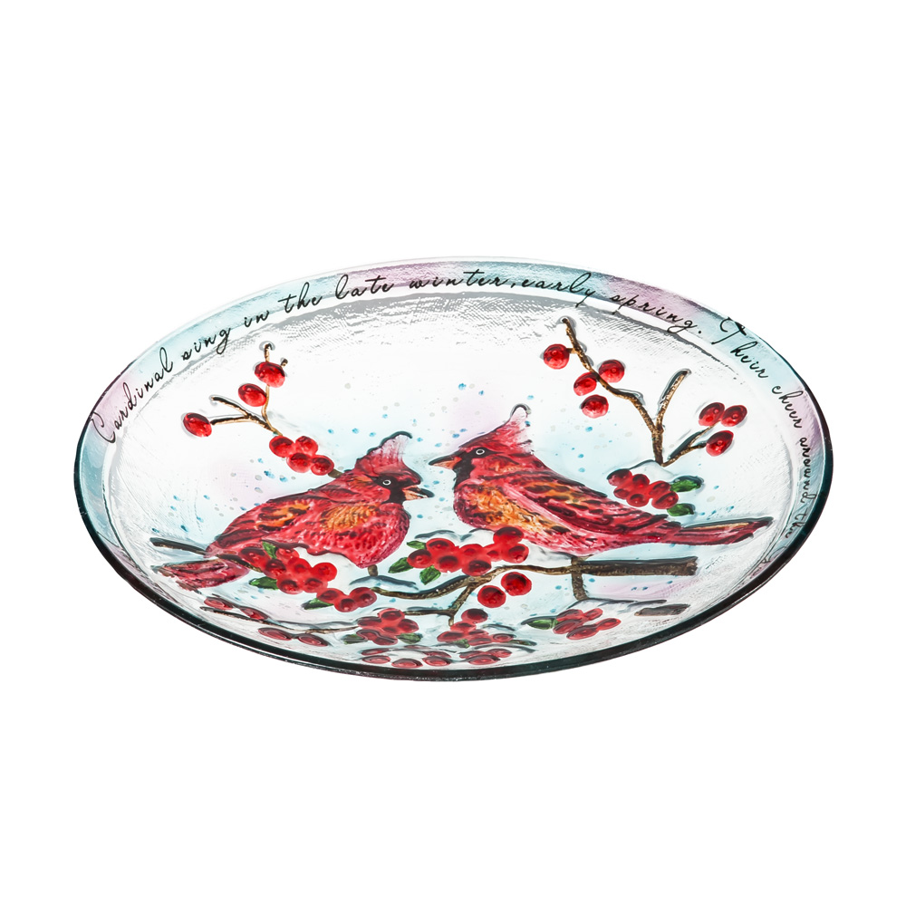 18 Inch Decorative Cardinal Glass Birdbath