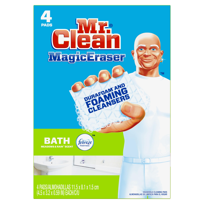 Mr. Clean Magic Eraser Bath, Cleaning Pads with Durafoam, Meadows & Rain, 4 Count