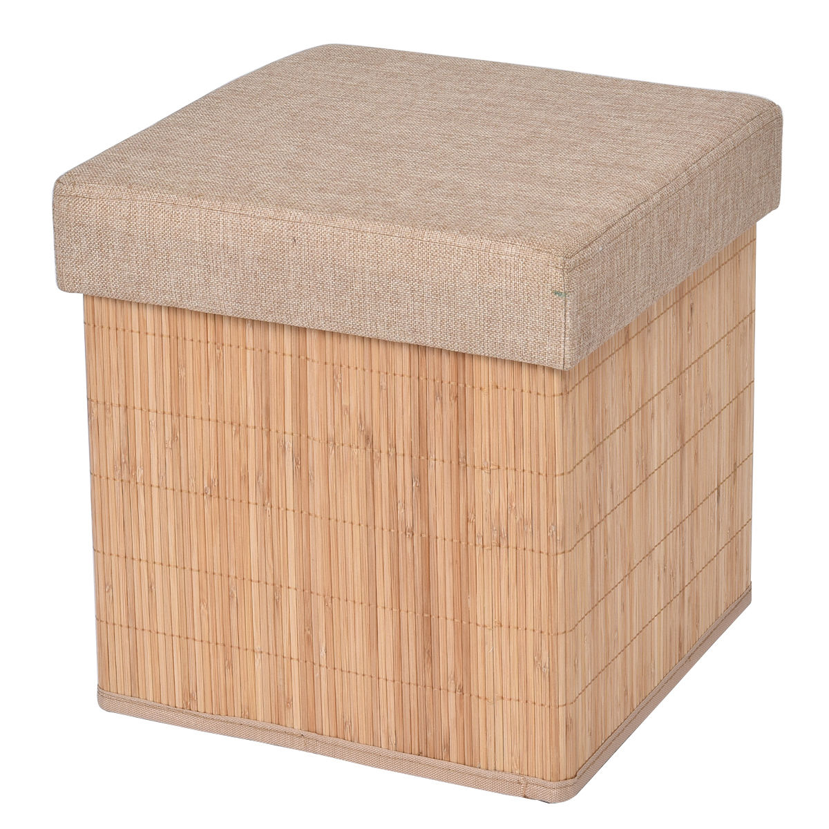 Gymax Folding Storage Cube Bamboo Ottoman Seat Footrest