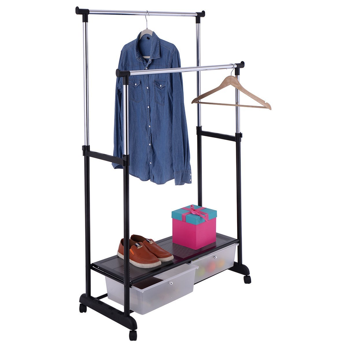 Double Adjustable Clothes Hanger Garment Rack
