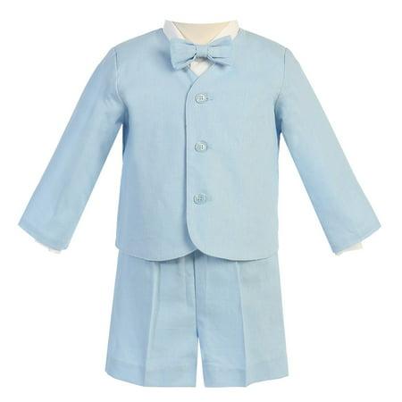 Little Boys Light Blue Eton Short Formal Ring Bearer Easter Suit 5