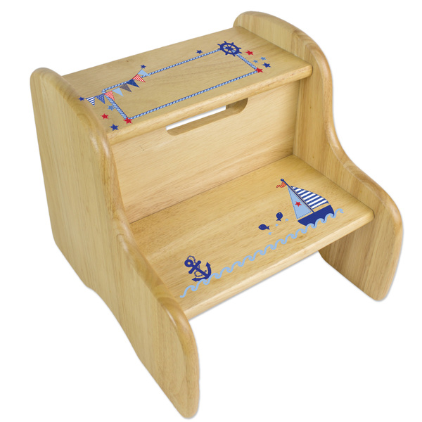 Personalized Boys Sailboat Blue Wooden Two Step Stool