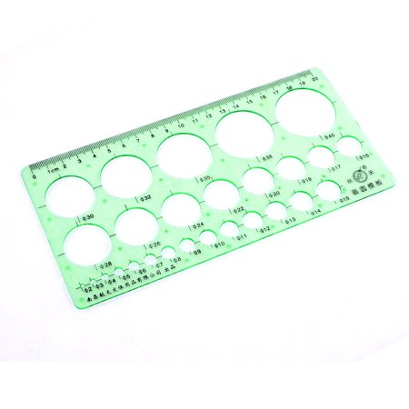 20cm Hollow Out Circle Shape Drawing Template Ruler Clear Green