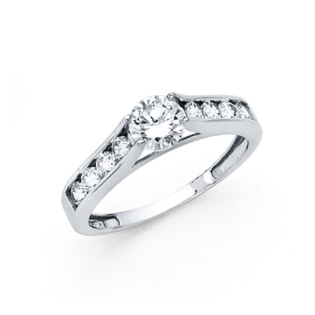 14k Yellow OR White Gold Round CZ Engagement Ring Anniversary Solitaire CZ Band Channel Set Side (Channel Solitaire)