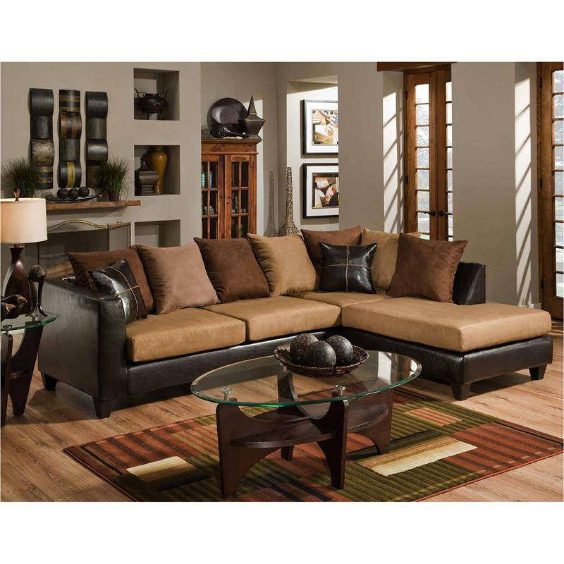 Sierra Chocolate Microfiber Sectional with Right Side Facing Chaise