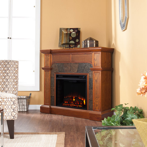 Southern Enterprises Barkley Convertible/ Corner Electric Fireplace with Faux Slate, Mission Oak