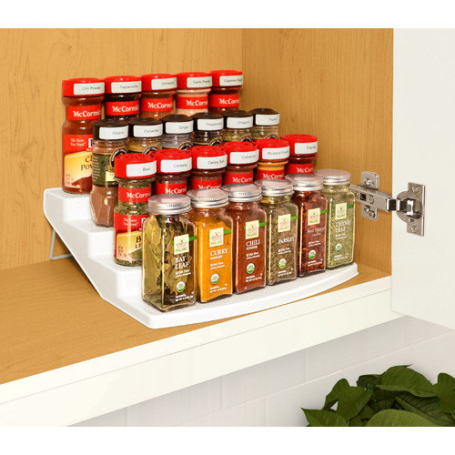 tiered spice racks for kitchen cabinets youcopia spice steps 4 tier cabinet spice rack organizer 9463