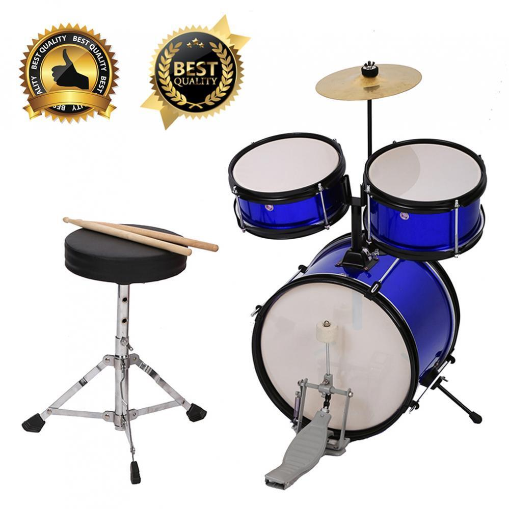 "12"" Metallic Blue Kids Junior Drum Set w  Throne, Cymbal, Pedal, Drumsticks by"