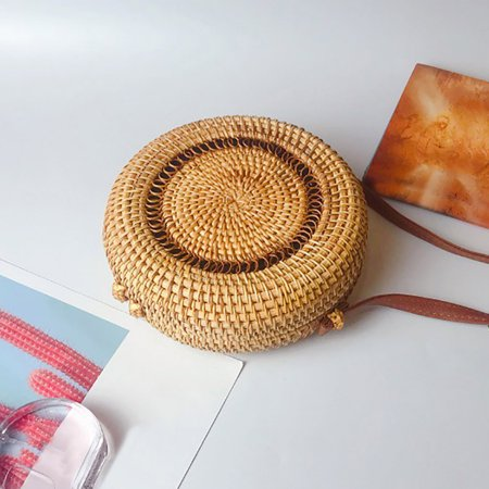 Circle Handwoven Bali Round Retro Rattan Straw Beach Bag Crossbody ()