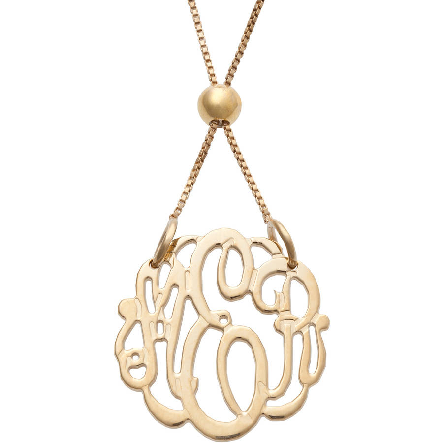 Personalized Women's Gold Over Silver Petite Monogram Adjustable Necklace