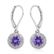 Shop LC Platinum Plated Cubic Zirconia CZ Glass Dangle Earrings Gifts Jewelry