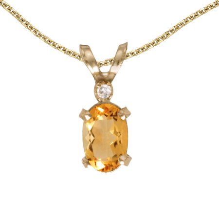 "10k Yellow Gold Oval Citrine And Diamond Filigree Pendant with 16"" Chain"