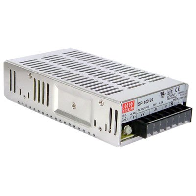 "Mean Well SP-100-5 Power Supply, Single Output, 5 Volt, 20 Amp, 100 Watt, 7.0"" L x 3.9"" W x 1.8"" H, Silver"