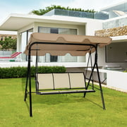 Outdoor Patio Swing Canopy Bench Chair Rocking Hammock Brown