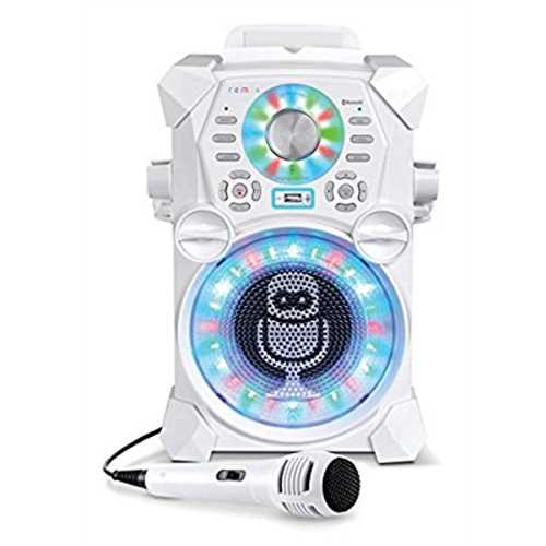 Refurbished Singing Machine SDL485W Remix Hi-Def Digital Karaoke System with Resting Tablet Cradle & Microphones, White