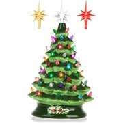 RJ Legend 15-Inch Ceramic Green Christmas Tree Decoration For Indoor & Outdoor Use - 50+ Multicolor LED Bulbs Halloween Tree - Handcrafted & Hand Painted - Glossy Premium Finish