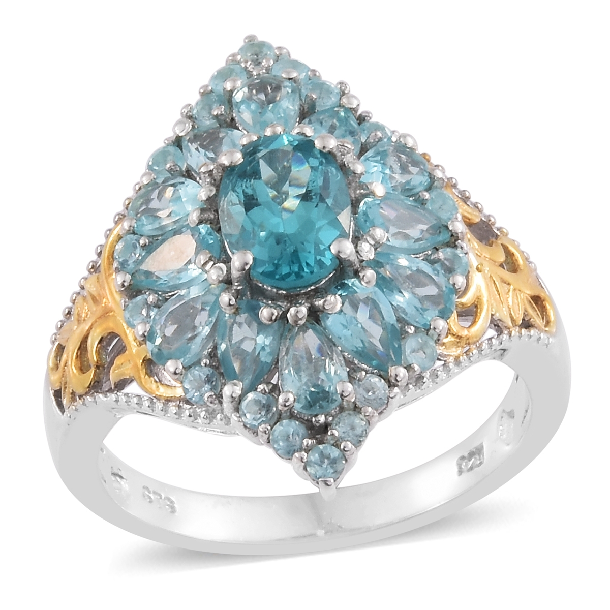 Apatite 14K Yellow Gold and Platinum Plated Silver Ring 3.34 cttw. by Shop LC