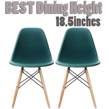 2xhome Set of 2 Teal Mid Century Modern Contemporary Vintage Molded Shell Designer Side Plastic Eiffel Chairs Wood Legs for Dining Room Living Office Conference DSW Desk Kitchen - Designer Dining Room Chairs