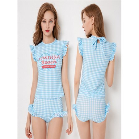4f7cf2ff39 Women Blue Surf Wear Short Sleeve Lattice Lacy Beach Two Piece Cute  Swimwear - Walmart.com
