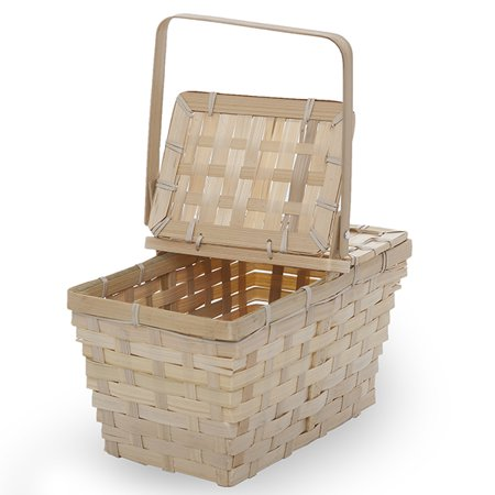 Garden Winds Rect Bamboo Weave Picnic Basket with Lid Small - Natural 10in