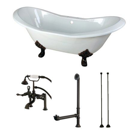 - Aqua Eden 72-Inch Cast Iron Clawfoot Tub with Faucet Drain and Supply Lines Combo, White/Oil Rubbed Bronze