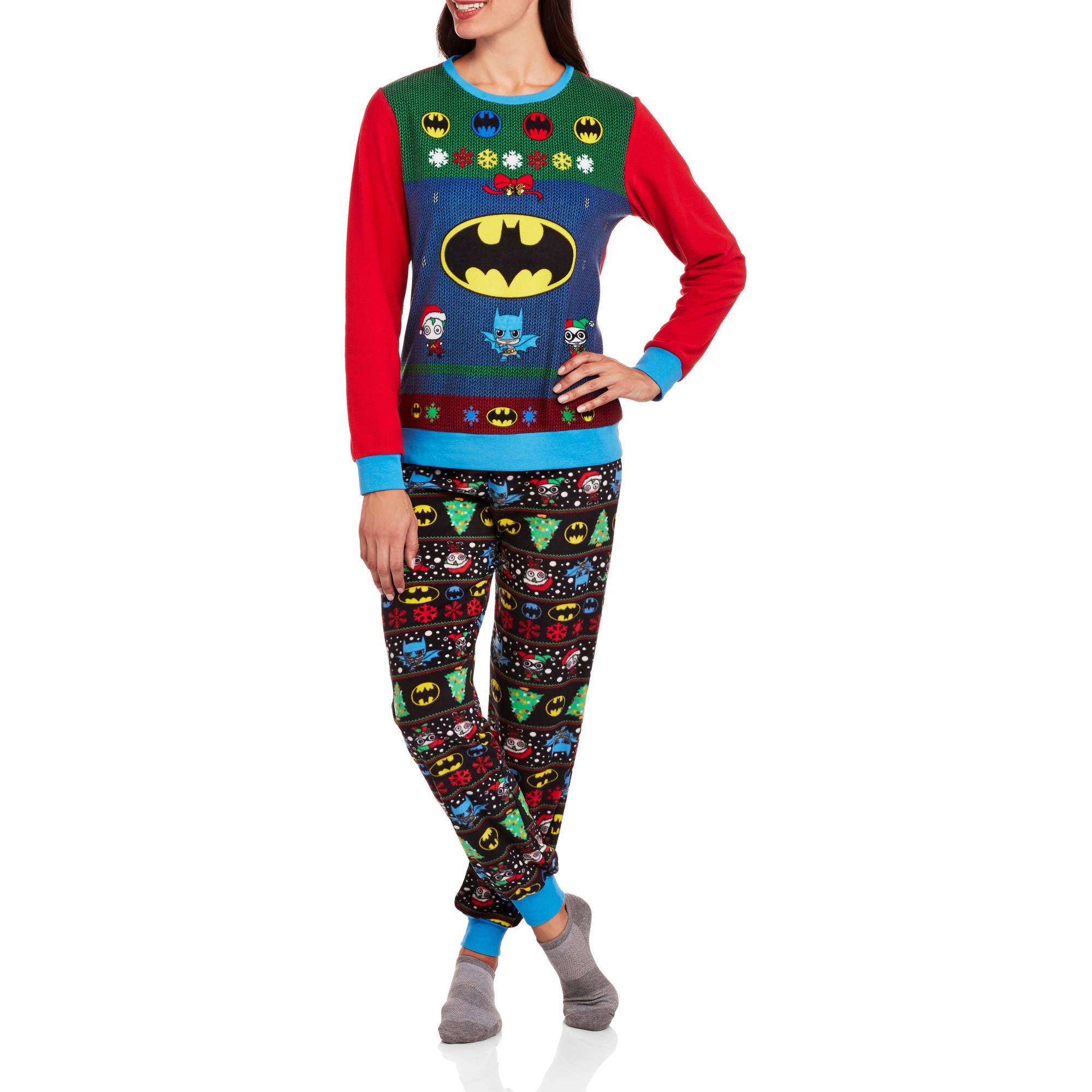Batman Women's License Pajama Ugly Sweater Fashion  2 Piece Sleepwear Set