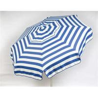 Italian 6 ft. Umbrella Acrylic Stripes Blue And White - Beach Pole