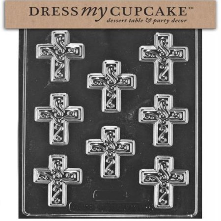 Swirl Chocolate Mold - Dress My Cupcake Chocolate Candy Mold, Small Easter Cross with Swirl