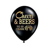 Cheers and Beers to 30 Years Balloons, 30th Birthday Party Balloons, Set of 3, 30th Birthday Party Decorations, 30th Birthday Ideas, Balloons, Metallic Gold and Black, Beers …