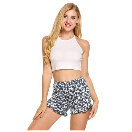 Women Pajamas Set Halter Sleeveless Crop Top and Shorts Lounge Sleepwear HITC