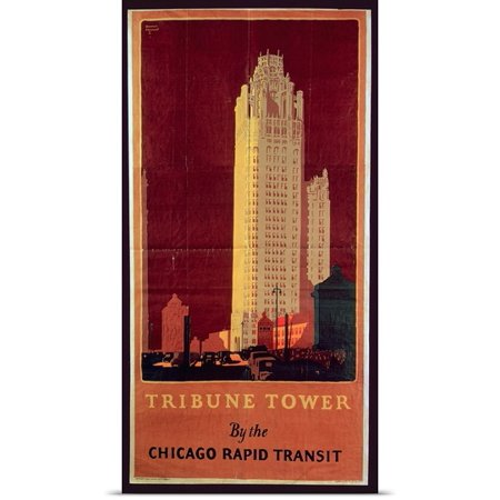Great Big Canvas Norman Erickson Poster Print Entitled Tribune Tower  Published By Chicago Rapid Transit Company  Usa  1925