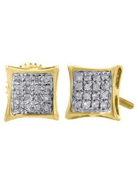 10K Yellow Gold Genuine Diamond Pave Studs Mini 6.80mm Kite Earrings 0.10 Ct.