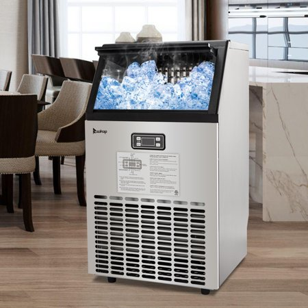 Commercial Ice Maker, Under Counter/Freestanding Ice Machine, Stainless Steel Ice Cube Maker with Ice Scoop, 99lbs Daily Capacity, Ice Maker for Home, Party, Office, Restaurant, Bar, Coffee, W9583