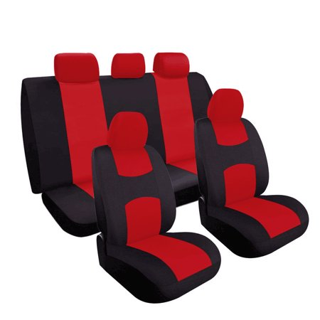 Kohree Car Seat Cover Set Premium Flat Cloth Fabric Full interior Set, Universal Fits Most Car, Truck, SUV, or Van
